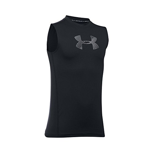 Heatgear Boys Shirt - Under Armour Boys' HeatGear Armour Sleeveless Fitted Shirt, Black /Graphite, Youth Large