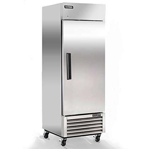 23 Cu.Ft Single Door Commercial Reach-in Refrigerator - KITMA Bottom Mount Stainless Steel Upright Fridge - 1 Self-Closing Door, 3 Adjustable Shelves