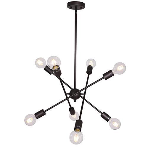 - BONLICHT Oil-Rubbed Bronze Sputnik Chandeliers 8 Light Vintage Industrial Semi Flush Mount Ceiling Light Mid Century Modern Pendant Lighting for Kitchen Dining Room Foyer Hallway