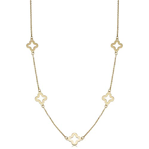 (Kooljewelry 14k Yellow Gold Clover Flower Station Necklace (7.9 mm, 18 inch))