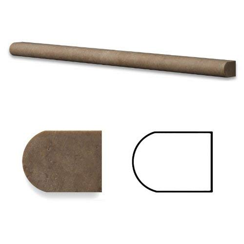 Noce Travertine Honed 1/2 X 12 Pencil Liner Trim Molding - Box of 5 pcs.