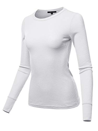 (A2Y Basic Solid Long Sleeve Crew Neck Fitted Thermal Top Shirt White L)