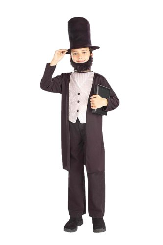 Kids Abraham Lincoln Costume -  Medium - Lincoln Hat With Beard