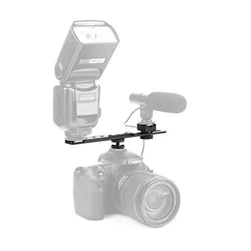 ChromLives 8'' Cold Shoe Extension Bar, Flash Straight Bracket, Camera Dual Mount Flash Bracket Compatible with Nikon Canon Sony Olympus DSLR Camera Camcorder DV