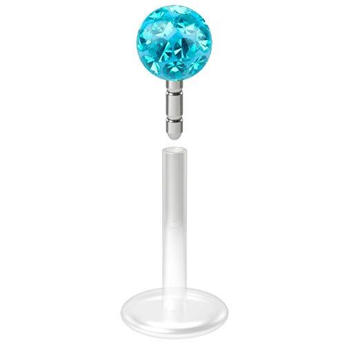 - 16g Bioflex Flexible Lip Stud Labret Piercing Jewelry with Ferido Epoxy Blue Crystal Monroe 4mm Ball