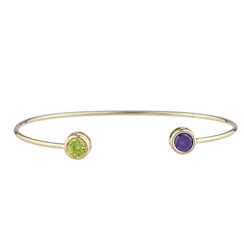 Elizabeth Jewelry Simulated Peridot & CZ Amethyst Round Bezel Bangle Bracelet 14Kt Yellow Gold Plated Over .925 Sterling Silver