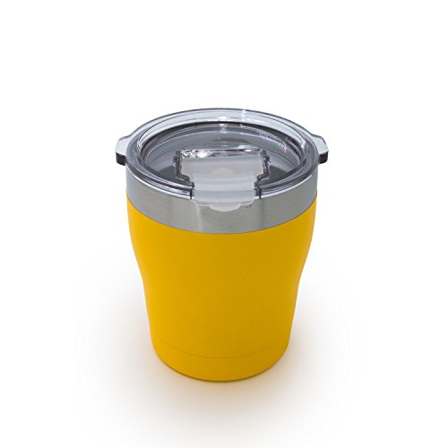 Tahoe Trails 10 oz Stainless Steel Tumbler Vacuum Insulated Double Wall Travel Cup With Lid, Yellow