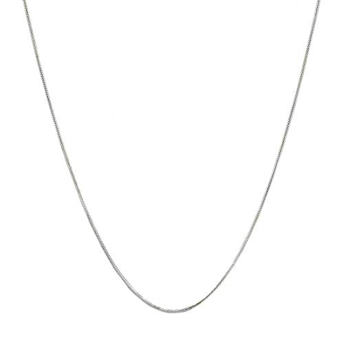 Verona Jewelers Sterling Silver 1.5MM 2MM Italian Solid Round Snake Chain Necklace-Sterling Silver Chain for Pendants, Magic Flexible Snake Chain (18-30) (28, 1.3MM) (Necklace Pendant Silver)