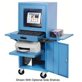Mobile Security Computer Cabinet, Blue, 24-1/2
