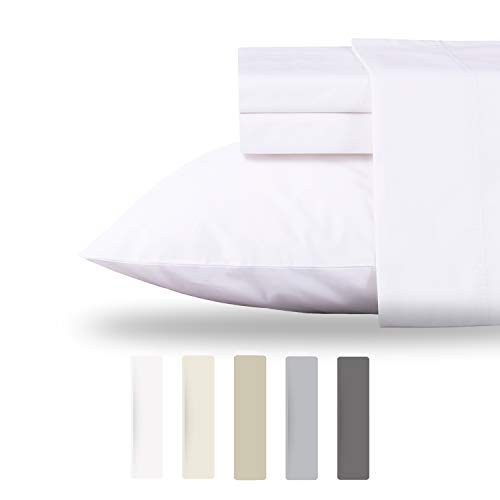 Pillowcase Standard Barry - Luxury Collection 100% Organic Cotton Percale Sheet Set, 4 Piece Hotel Style Queen White Sheets, Fits Mattress Upto 18'' Deep Pocket, Cool Crisp, Eco Friendly & Breathable Bedding Set GOTS Certified