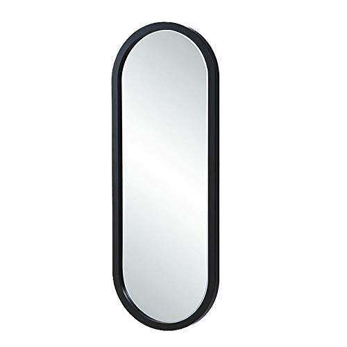 (Wall Mirror, Half-Length Mirror, Dressing Mirror, Bedroom Vanity Mirror, Rounded Rectangle, Wooden Frame, Waterproof, Embossed Art Mirror, Hall Full-Length Mirror,Black-40x110cm)