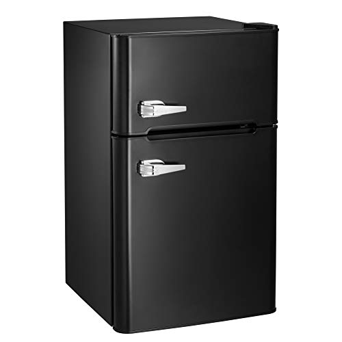 AGLUCKY Compact Refrigerator,2 Door Refrigerator and Freezer, Dorm or Apartment,3.3 cuft,Stainless Steel,Black