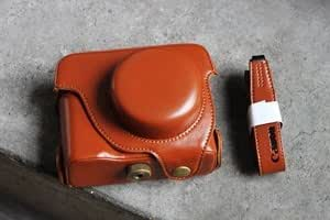COSMOS Brown Leather Case Cover Bag For Canon Powershot G1X Digital Camera DC G1 X + Cosmos cable tie