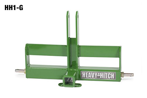 Category 1, 3 Point Hitch Receiver Drawbar with Suitcase Weight Bracket - Standard Duty, Green (John Deere Ballast Box)