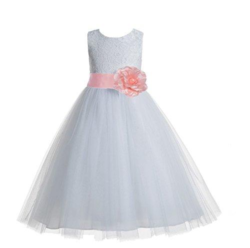 ekidsbridal Floral Lace Heart Cutout White Flower Girl Dresses Bellini Peach First Communion Dress Baptism Dresses 172T ()