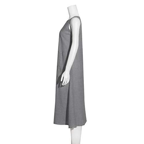 Clacce Damen Kleider Maxikleid Lose Kleid Langarm Retro Leinen Baumwolle Lange Kleider Elegante Bluse Breite Beiläufige Sommerkleider Damen Plus Größe Schwarz Mg0Ra4J0 im Angebot