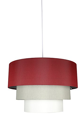 Urbanest Renzo 3-tier Shade Pendant with Hanging Light Kit, Burgundy, Moss Gray, and Eggshell Silk, 18-inch Diameter, 12-inch (3 Tier 12 Light Pendant)