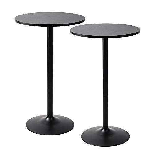 Pearington PEAR-0098 Santina 2 Pack Round Bar and Pub Table, Black