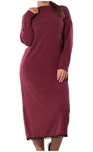 Round Plus Wine Neck Long Red Stylish Shift Solid Women Size Dress Sleeve Coolred 6paU5qwa