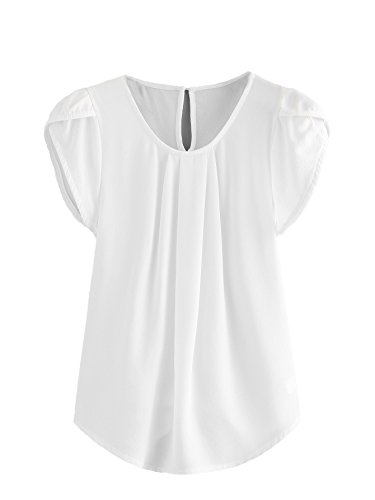 Milumia Women's Casual Round Neck Basic Pleated Top Cap Sleeve Curved Keyhole Back Blouse White Small