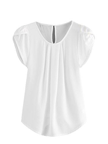 Milumia Women's Casual Round Neck Basic Pleated Top Cap Sleeve Curved Keyhole Back Blouse White - Sleeve White Cap Blouse