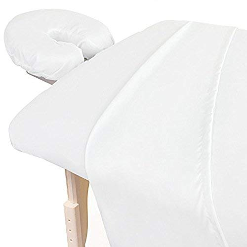 600 Thread-Count Egyptian Cotton 3-Piece Massage Table Spa Sheet Set (1Pc Fitted Sheet,1Pc Flat Sheet & 1Pc Fitted Face Rest Cover) Fit up to 5-7″ Inch Deep Table Fitted Color (White Solid)