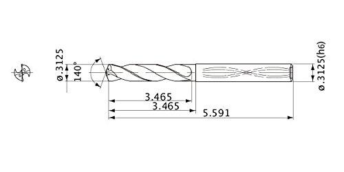 Internal Coolant 8 mm Hole Depth Mitsubishi Materials MWS03125X8DB MWS Series Solid Carbide Drill 1.4 mm Point Length 7.938 mm Shank Dia. 7.938 mm Cutting Dia