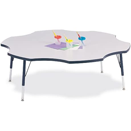 Kydz Activity Table Six Leaf 60 11 15 Ht Gray Red School Play Furniture