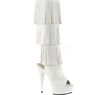 Pleaser DELIGHT-2019-3 Wht Faux Leather/Wht