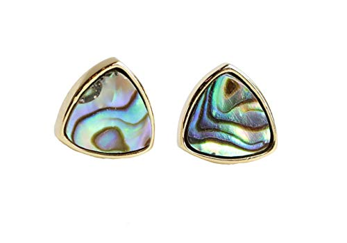 - Abalone Triangle Stud Earring Gold Plated- 9mm- Genuine Abalone Shell- Gift Idea