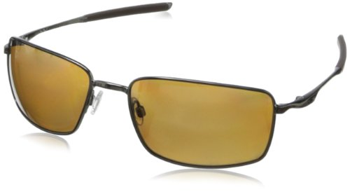 Oakley Men's OO4075 Square Wire Rectangular Metal Sunglasses, Tungsten/Tungsten Iridium Polarized, 60 mm