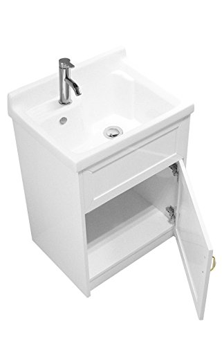sink ALEXANDER 24'' WHITE Utility Sink - Modern Mop Slop Tub Deep Sink Ceramic Laundry Room Vanity Cabinet Contemporary Hardwood Hard by www.LuxuryModernHome.com (Image #2)