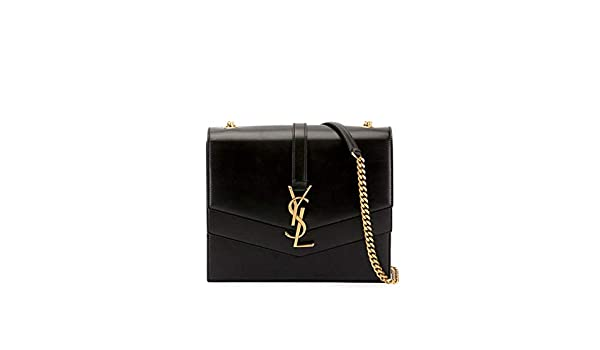 65b41109968c8 Saint Laurent Sulpice Leather Triple V-Flap Crossbody Bag Made in Italy  (Black)  Handbags  Amazon.com
