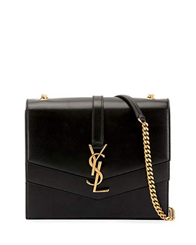 9aab1137d4 Saint Laurent Sulpice Leather Triple V-Flap Crossbody Bag Made in Italy ( Black)