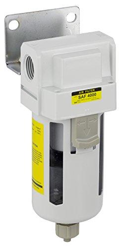PneumaticPlus SAF4000M-N04B Compressed Air Particulate Filter, 1/2' NPT, Manual Drain, Poly Bowl, 10 μm