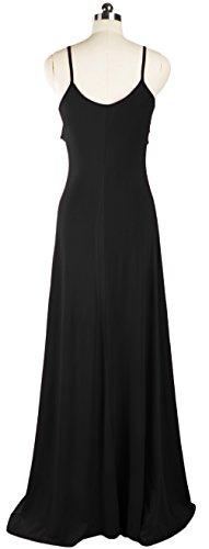 Wenseny Mujer Vestidos Elegnate Sin Espalda Sin Mangas Encaje Maxi Vestido de Cóctel Fiesta Negro