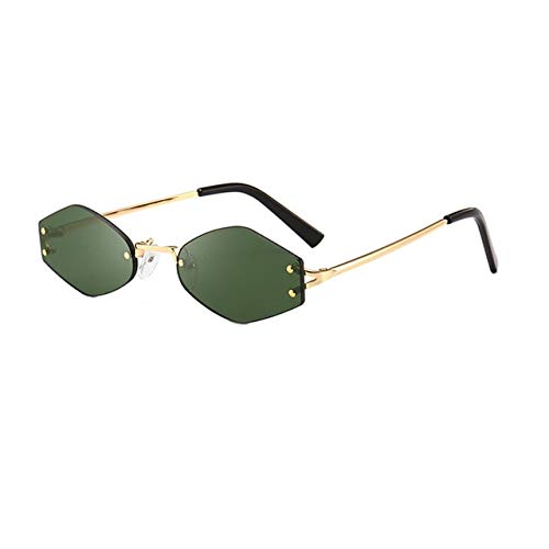 Square Sunglasses for Women Rimless Sun Glasses on Mujer gafas Colored Eyeglasses Female Eyewear Ladies Dames modis okulary Glas - (Lenses Color: Green)