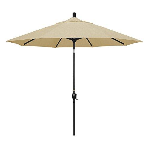 California Umbrella 9' Round Aluminum Market Umbrella, Crank Lift, Push Button Tilt, Black Pole, Sunbrella Champagne