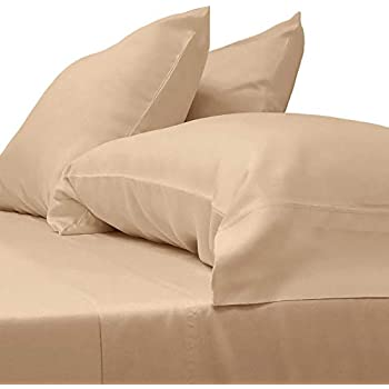 Cariloha Classic Bamboo Sheets 4 Piece Bed Sheet Set - Softest Bed Sheets and Pillow Cases - Lifetime Protection (Queen, Sandy Shore)