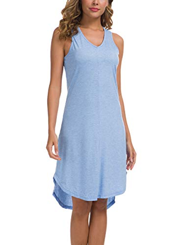 Missufe Women's V Neck Sleeveless Racerback High Low Casual Tank Dress (Blue, Medium) ()