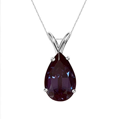 5.57-5.68 Cts of 14x9 mm AAA Pear Cut Lab Created Russian Alexandrite Solitaire Pendant in 14K White Gold
