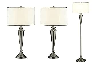 nickel lamp set floor lamp 2 matching table lamps. Black Bedroom Furniture Sets. Home Design Ideas