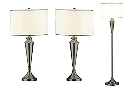 Kings Brand Brush Nickel Lamp Set, Floor Lamp & 2 Matching Table ...