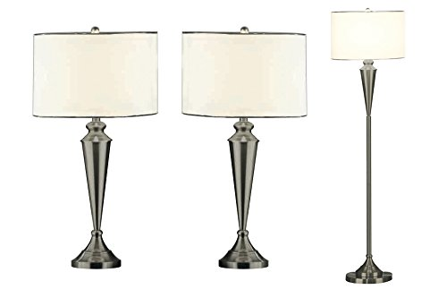 Bon Kings Brand Brush Nickel Lamp Set , Floor Lamp U0026 2 Matching Table Lamps