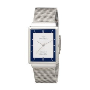 Sartego Men's SVS335 Square Sartego Seville Silver Tone Sapphire Watch