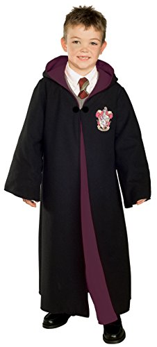 Rubie's Costume Co Deluxe Harry Potter Child' Costume Robe with Gryffindor Emblem, Small with Harry Potter Wand with Light & Sound Bundle -