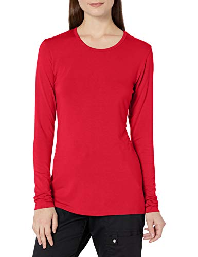 Cherokee Women's Long Sleeve Knit Shirt, Red, Medium