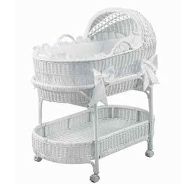 BabyDoll Fairyland Bassinet Bedding Set, White (Bassinet White Eyelet Bedding)