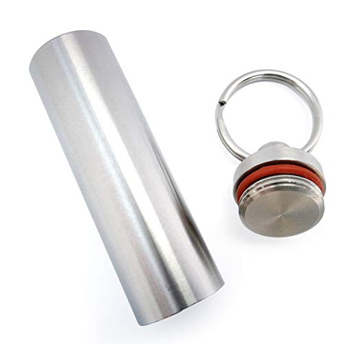 Medical Grade Stainless Steel Pill Fob with 2 Cleaner Brushes and 2 Sealing Rings Emergency Aspirin Waterproof Keychain Pill Holders(Diameter - 0.59