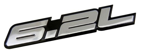 ERPART 6.2L Liter SILVER on BLACK Highly Polished Aluminum Silver Chrome Car Truck Engine Swap Badge Nameplate Emblem Compatible with Chevrolet GMC Trucks American Motors AM Hummer